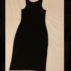 Black fitted sleeveless dress